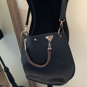 Black woven faux leather large tote crossbody bag